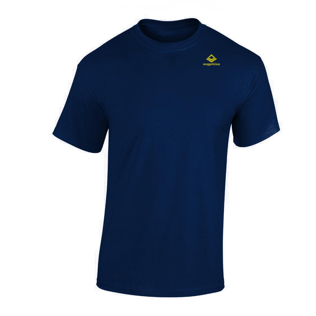 Swaggerlicious Classic Mens Navy Blue Crew T-Shirt with Mini Gold Logo - swaggerlicious-clothing.com
