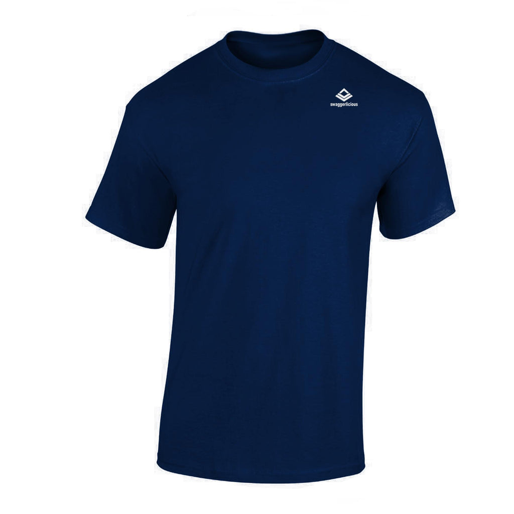 SWAGGERLICIOUS CLASSIC MEN'S CREW NAVY BLUE T-SHIRT WITH MINI WHITE LOGO - swaggerlicious-clothing.com