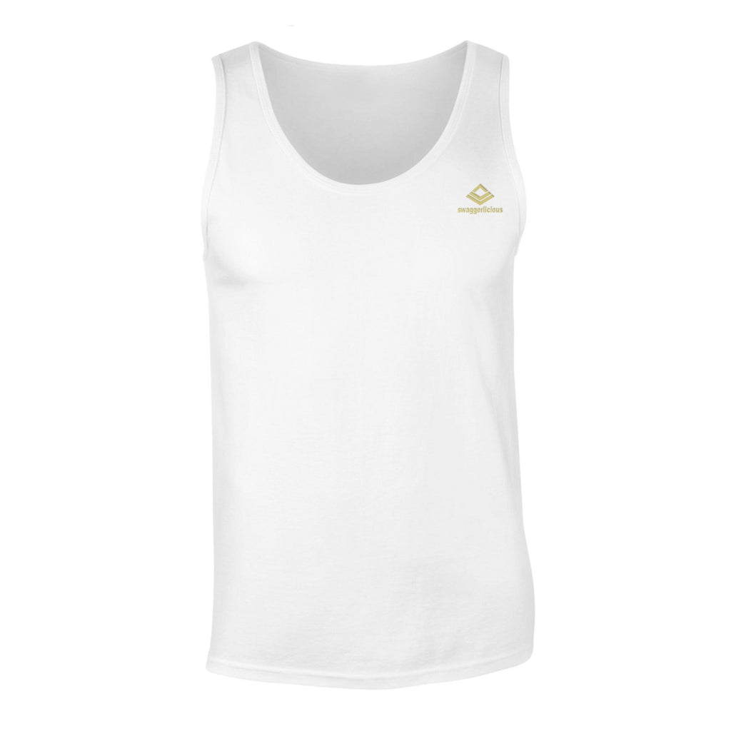 Swaggerlicious Classic Men's White Tank Top with Mini Gold Logo - swaggerlicious-clothing.com