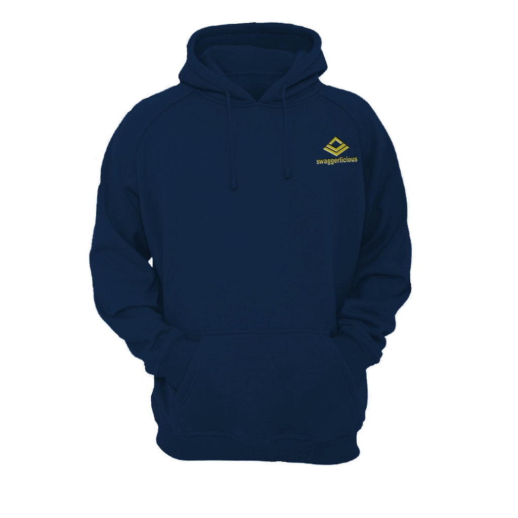 SWAGGERLICIOUS ORIGINAL NAVY BLUE HOODIE WITH MINI GOLD LOGO - swaggerlicious-clothing.com