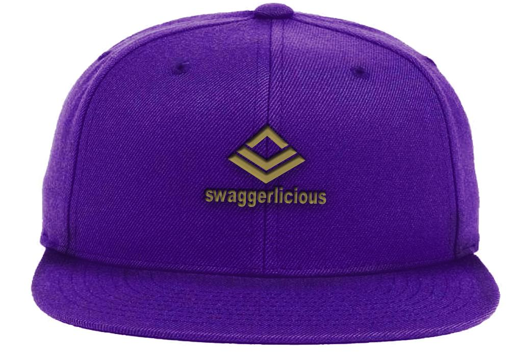 Swaggerlicious Classic Purple Snapback Cap with Mini Gold Logo - swaggerlicious-clothing.com