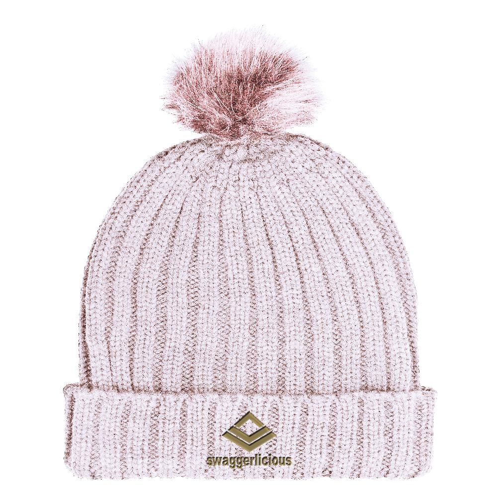 SWAGGERLICIOUS KIDS CLASSIC PINK BOBBLE BEANIE WITH GOLD LOGO - swaggerlicious-clothing.com