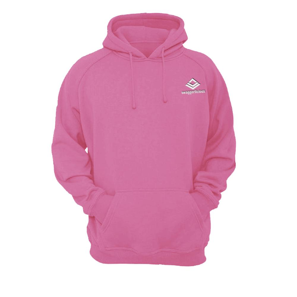 SWAGGERLICIOUS ORIGINAL PINK HOODIE WITH MINI WHITE LOGO - swaggerlicious-clothing.com