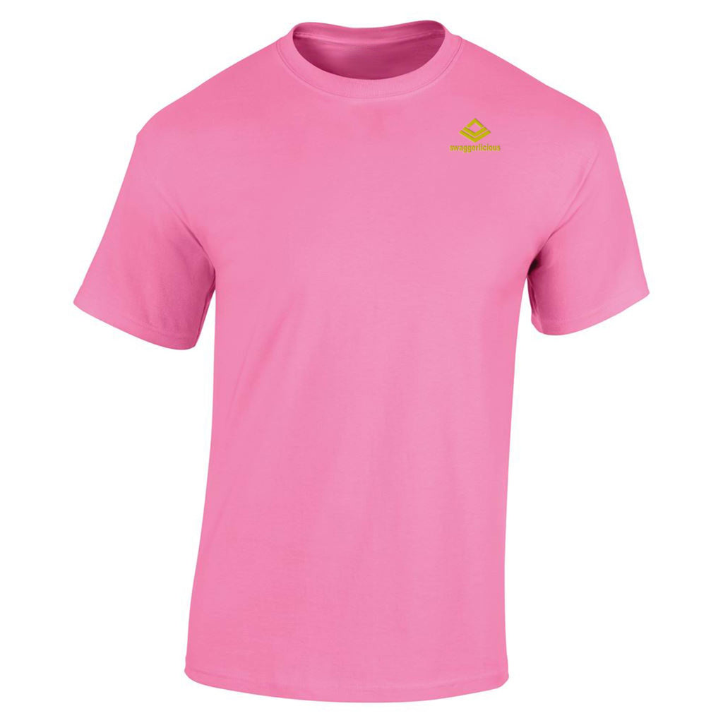 SWAGGERLICIOUS KIDS CLASSIC PINK T-SHIRT WITH MINI GOLD LOGO - swaggerlicious-clothing.com
