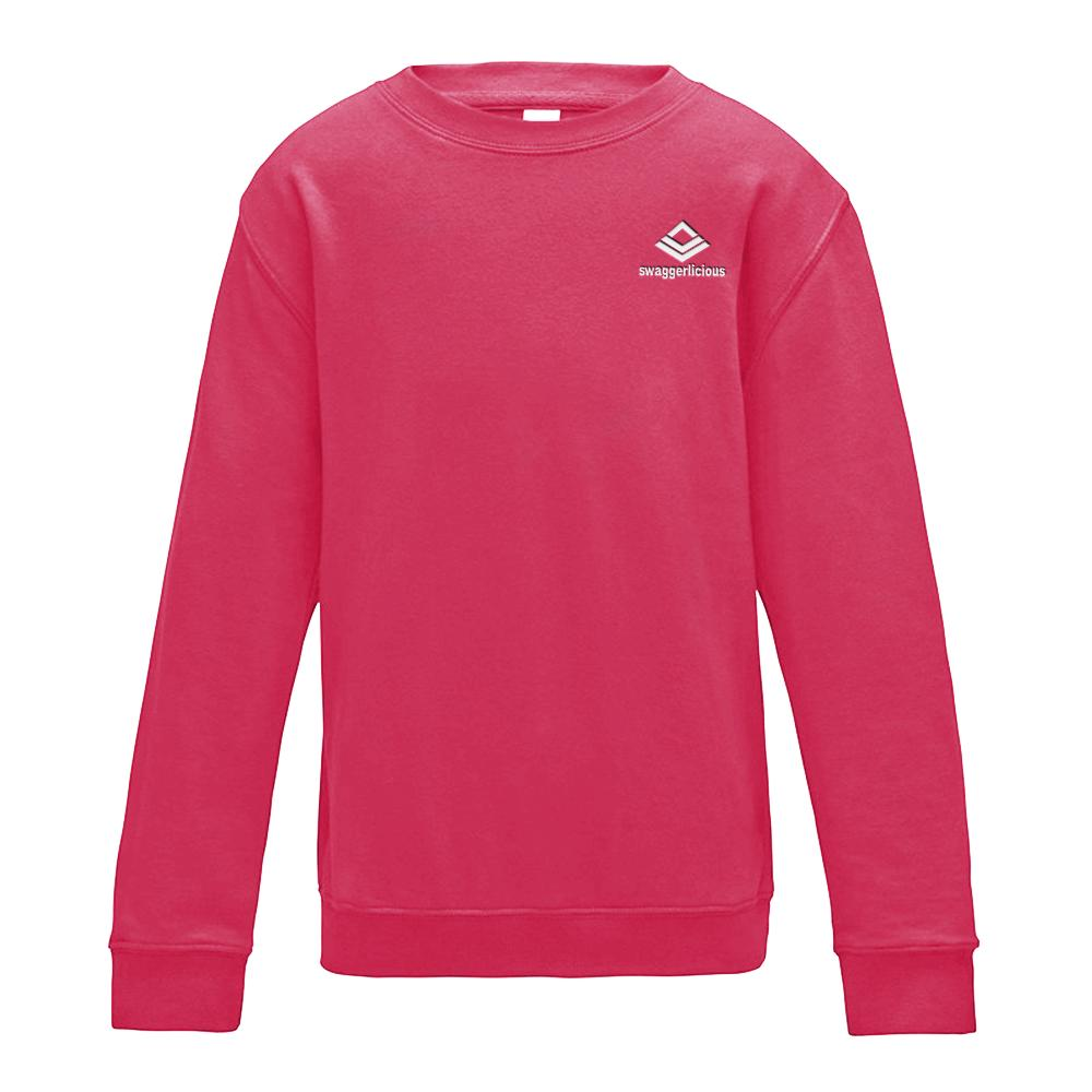 SWAGGERLICIOUS KIDS CLASSIC PINK SWEATSHIRT WITH MINI WHITE LOGO - swaggerlicious-clothing.com