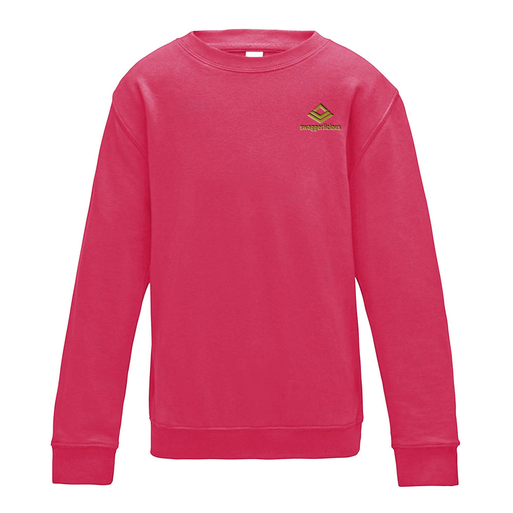 SWAGGERLICIOUS KIDS CLASSIC PINK SWEATSHIRT WITH MINI GOLD LOGO - swaggerlicious-clothing.com