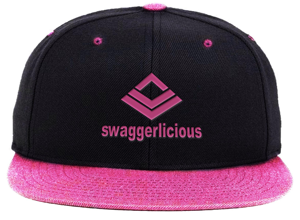 Swaggerlicious Classic Pink and Black Snapback Cap with Pink Logo - swaggerlicious-clothing.com
