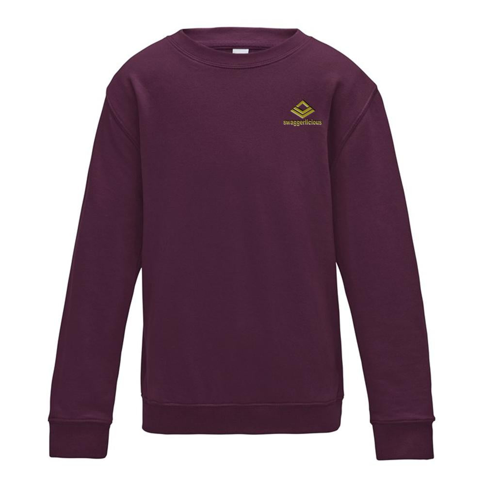 SWAGGERLICIOUS KIDS CLASSIC PLUM SWEATSHIRT WITH MINI GOLD LOGO - swaggerlicious-clothing.com
