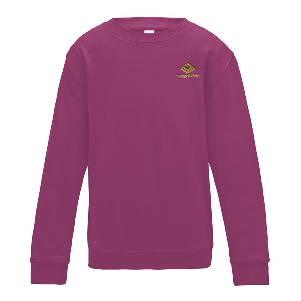 SWAGGERLICIOUS KIDS CLASSIC PURPLE SWEATSHIRT WITH MINI GOLD LOGO - swaggerlicious-clothing.com