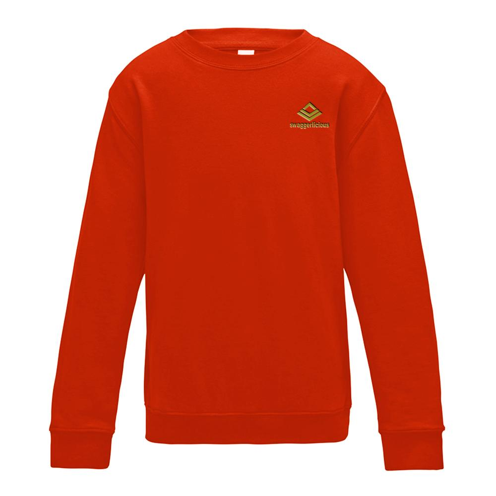 SWAGGERLICIOUS KIDS CLASSIC RED SWEATSHIRT WITH MINI GOLD LOGO - swaggerlicious-clothing.com