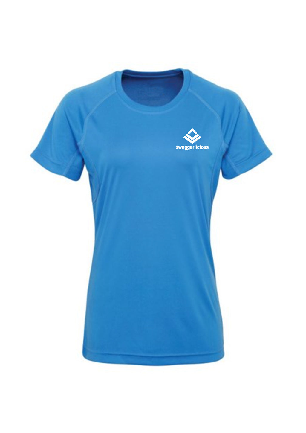 Swaggerlicious Sapphire Active Sports Tee with White Logo