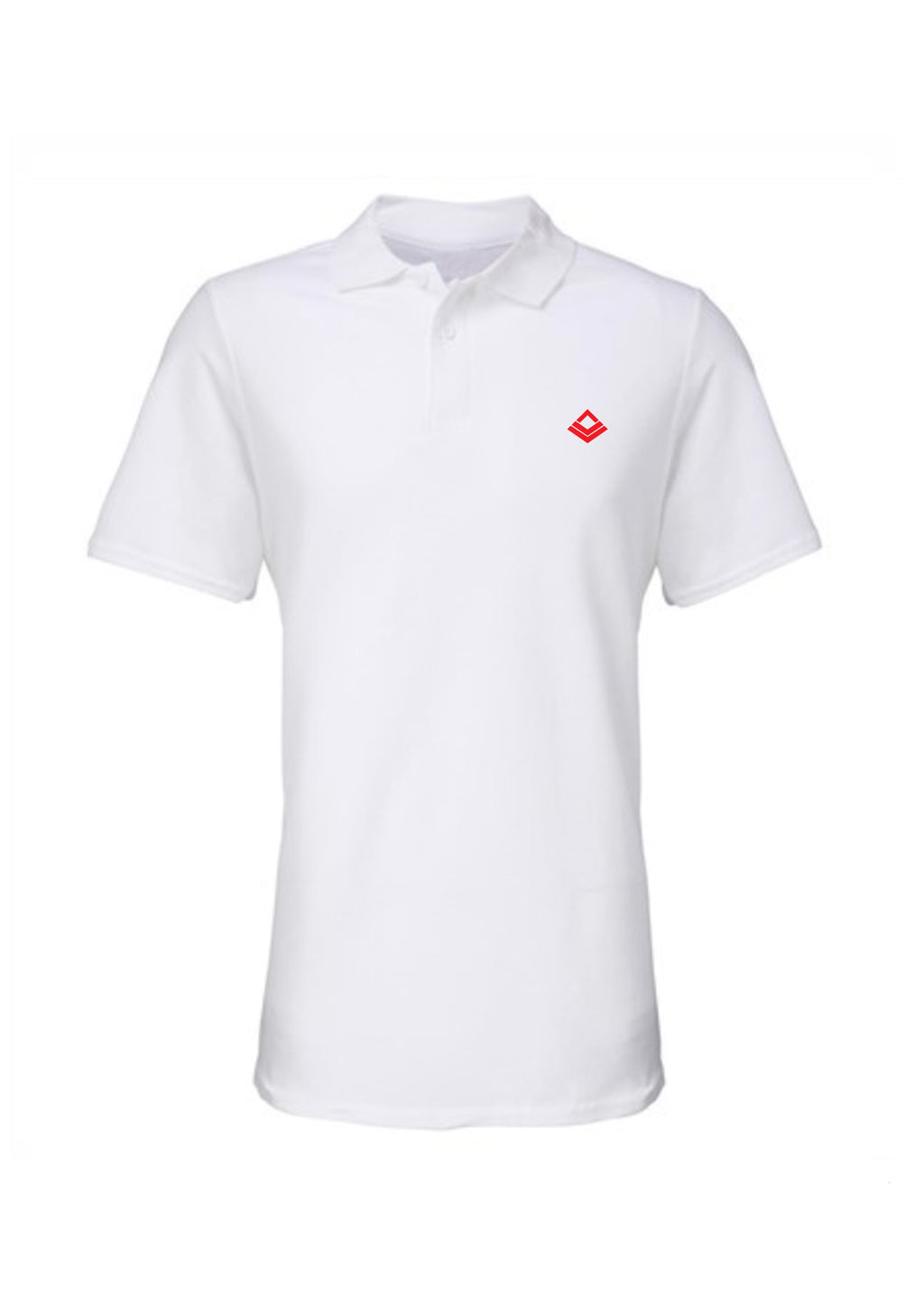 Swaggerlicious White Simple Polo Shirt with Red Logo