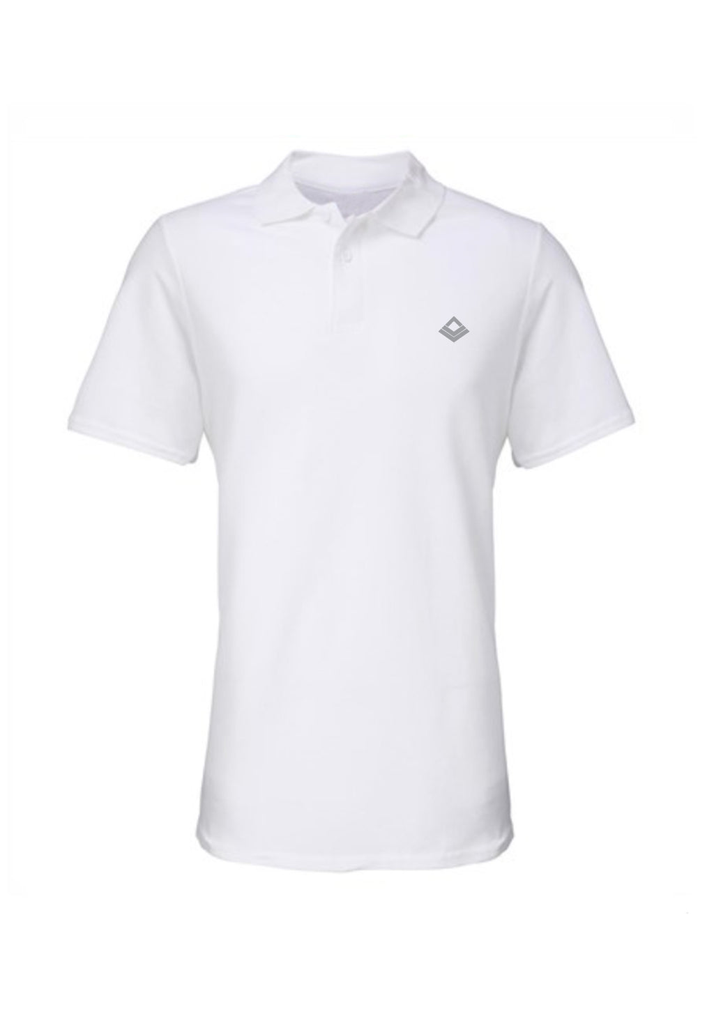Swaggerlicious White Simple Polo Shirt with Silver Logo