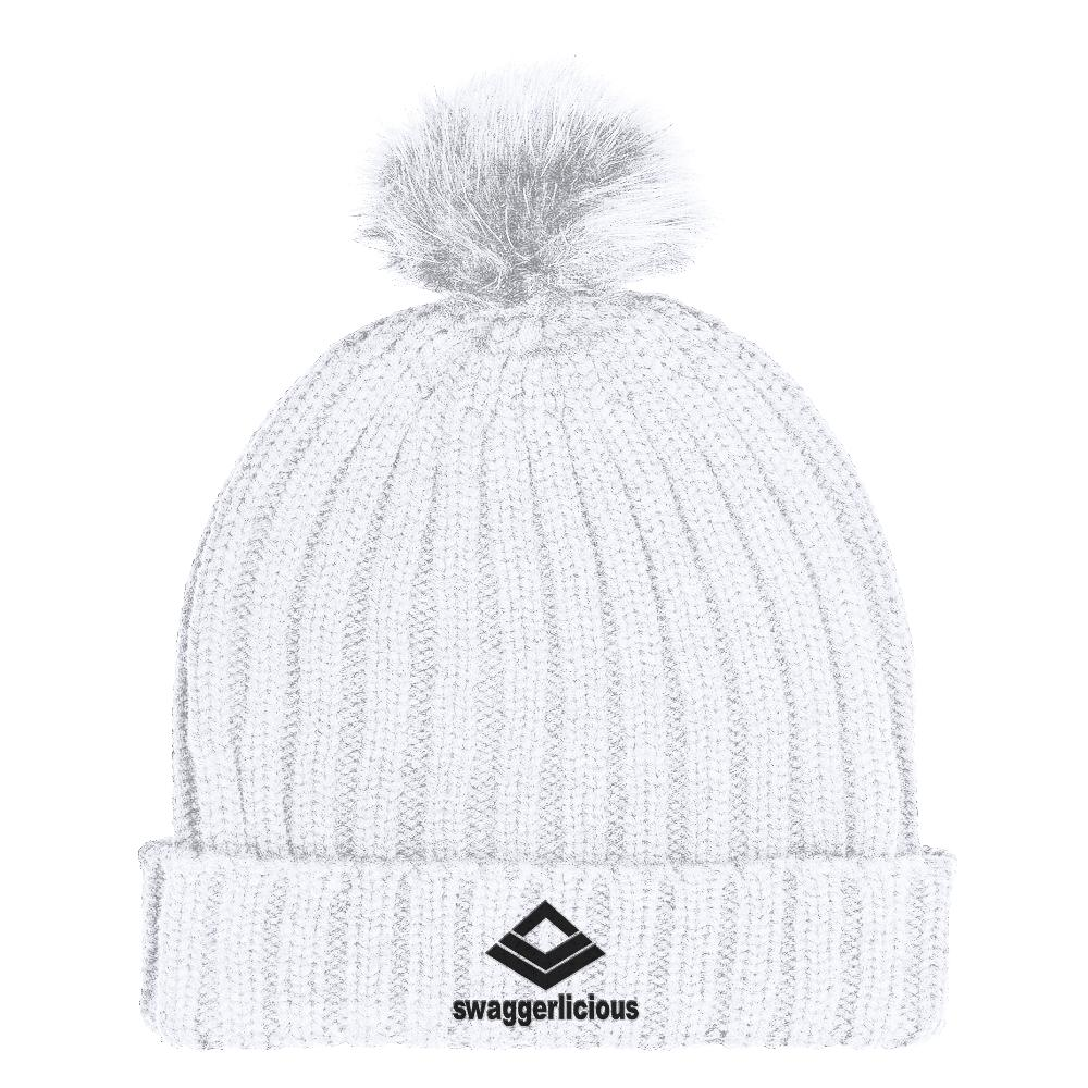 Swaggerlicious Classic White Beanie Hat with Black Embroidery - swaggerlicious-clothing.com