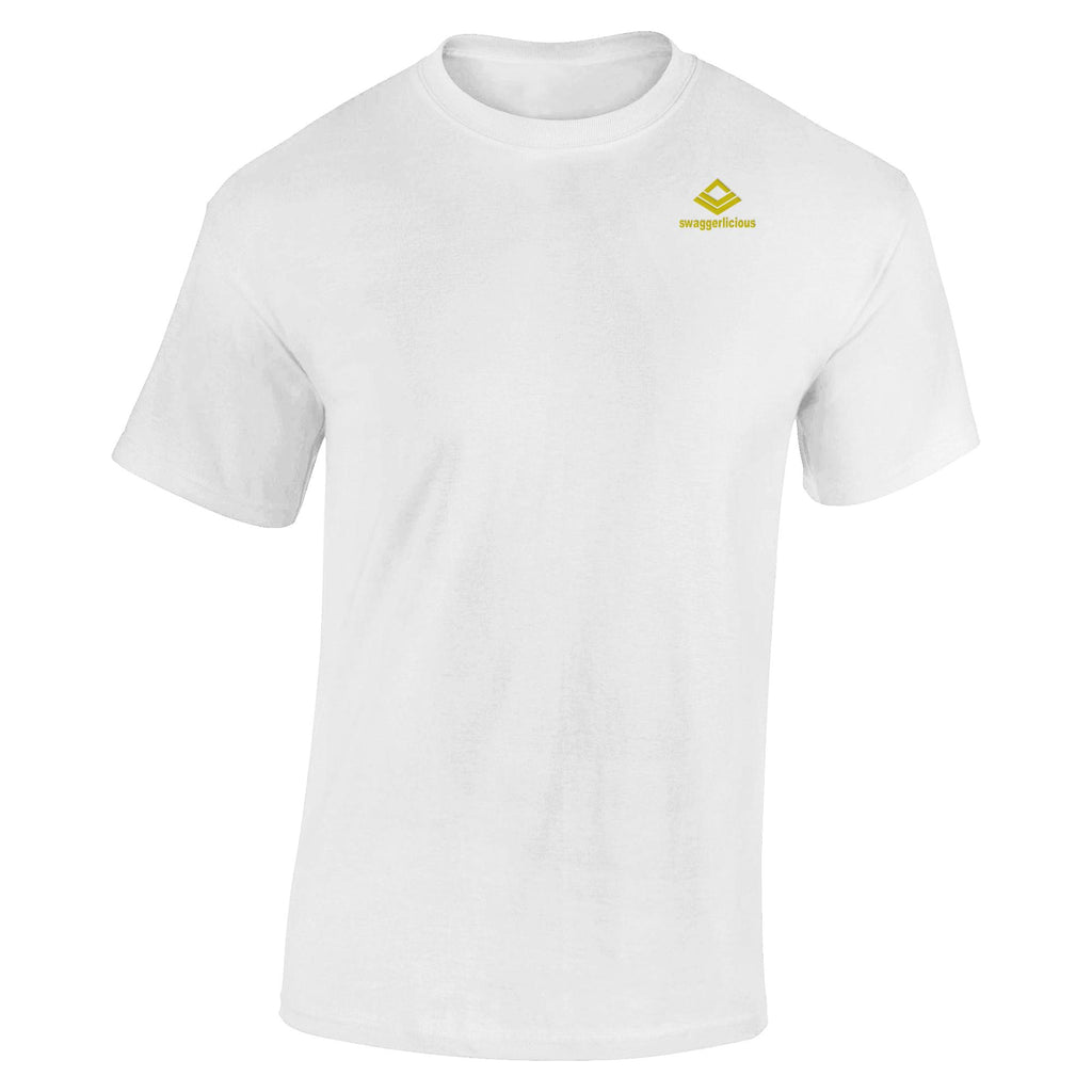 SWAGGERLICIOUS KIDS CLASSIC WHITE T-SHIRT WITH MINI GOLD LOGO - swaggerlicious-clothing.com