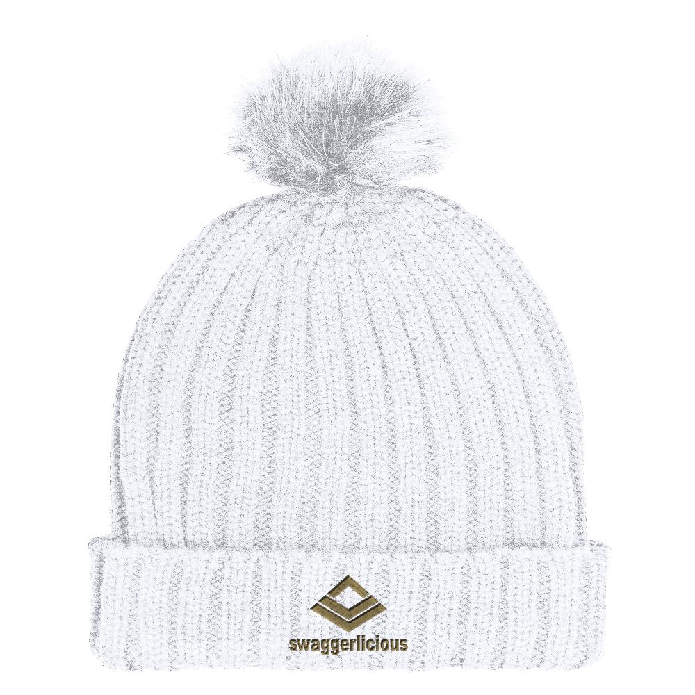 Swaggerlicious Classic White Beanie Hat with Gold Embroidery - swaggerlicious-clothing.com