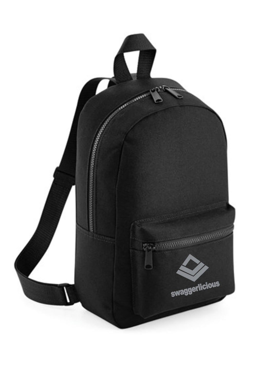 Swaggerlicious Classic Black Mini Backpack with Silver Logo - swaggerlicious-clothing.com