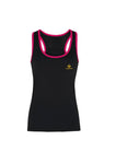 Swaggerlicious Women's Black and Pink Panelled Tank Top with Gold Logo.