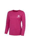 Swaggerlicious Electric Pink Women's Long Sleeve Sports Tee with White Logo