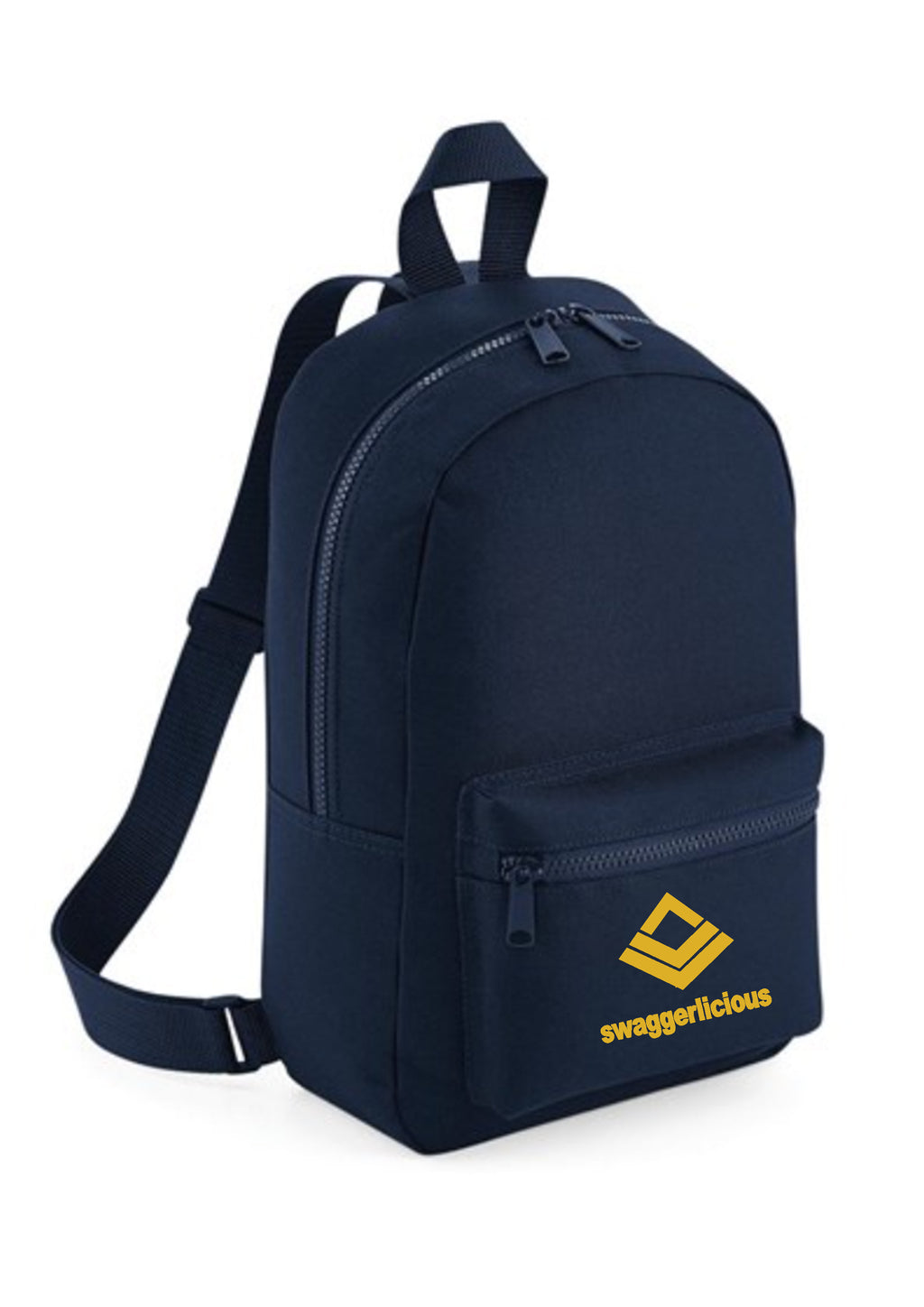 Swaggerlicious Classic French Navy Mini Backpack with Gold Logo - swaggerlicious-clothing.com