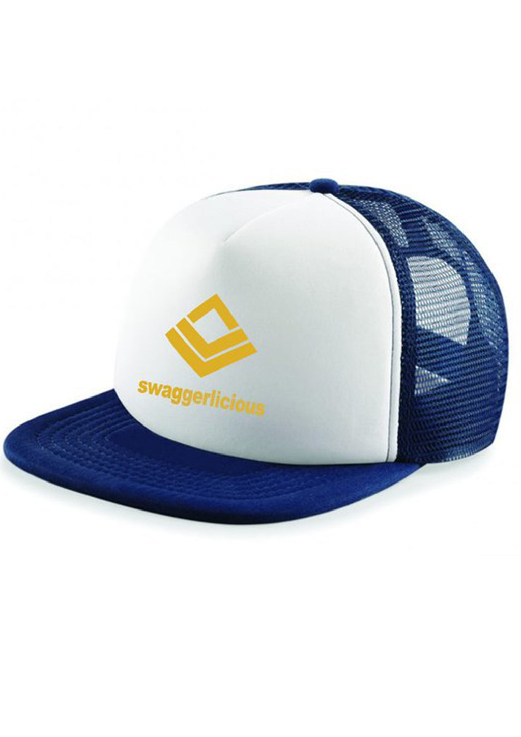 Swaggerlicious Classic White and Navy Blue Snapback with Gold Logo - swaggerlicious-clothing.com