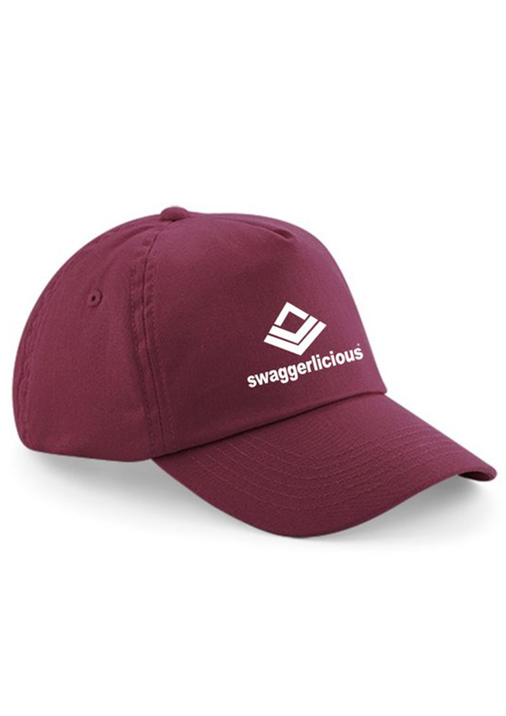 Swaggerlicious Classic Burgundy Sports Low Peak Cap with White Logo - swaggerlicious-clothing.com
