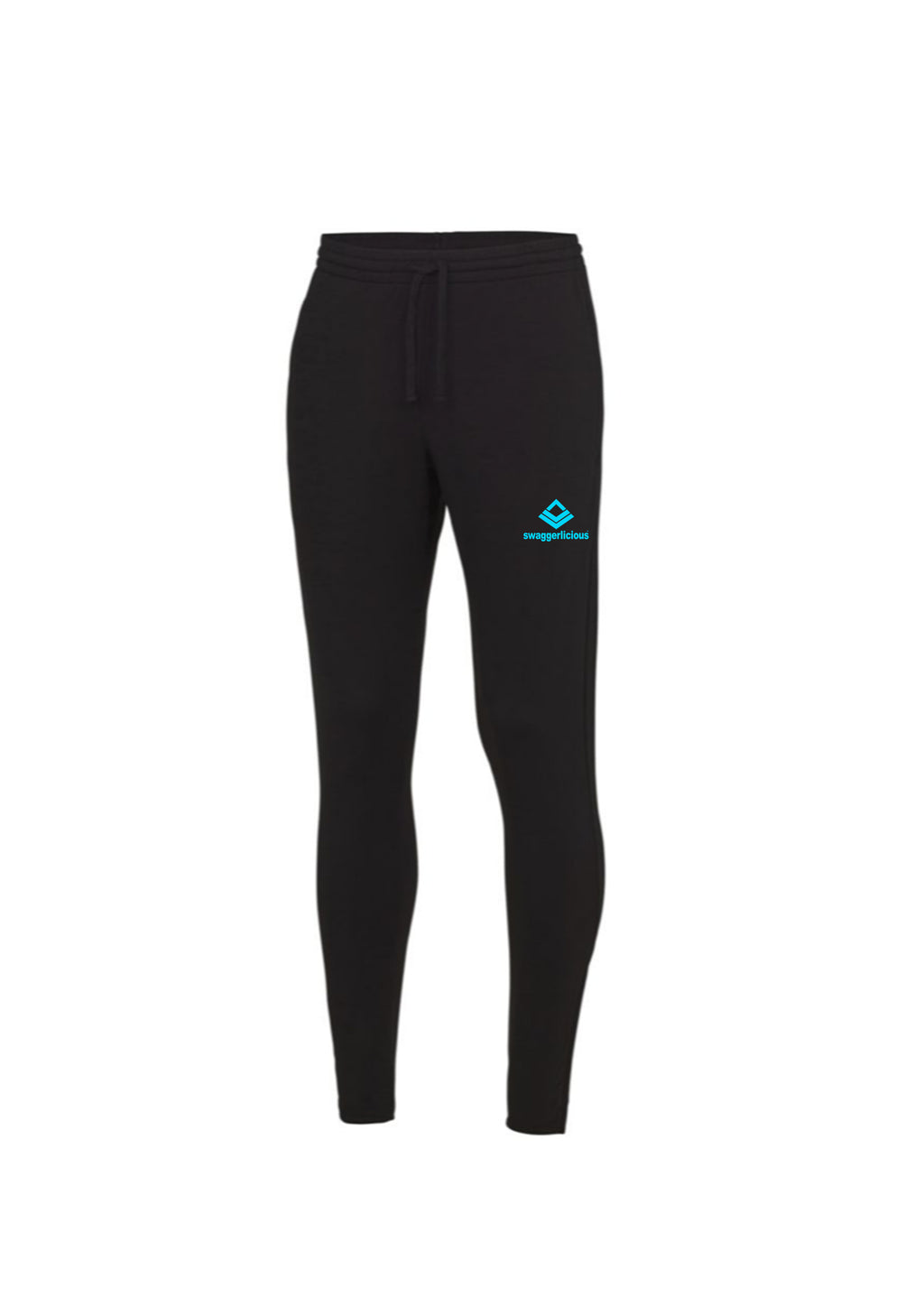 Swaggerlicious Cool Jet Black Jogging Pants with Blue Logo