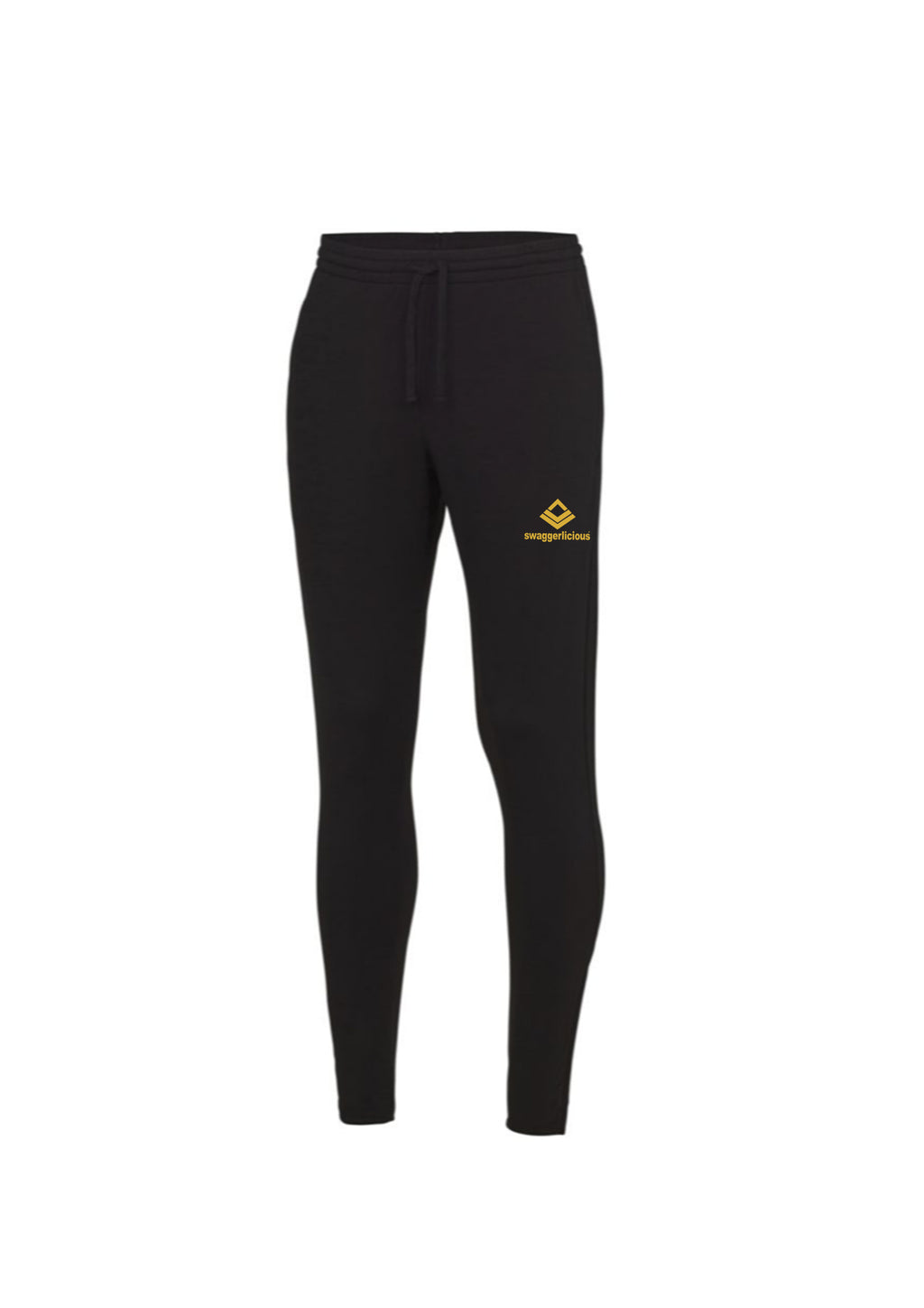 Swaggerlicious Cool Jet Black Jogging Pants with Gold Logo