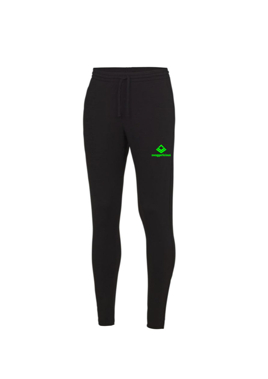 Swaggerlicious Cool Jet Black Jogging Pants with Green Logo