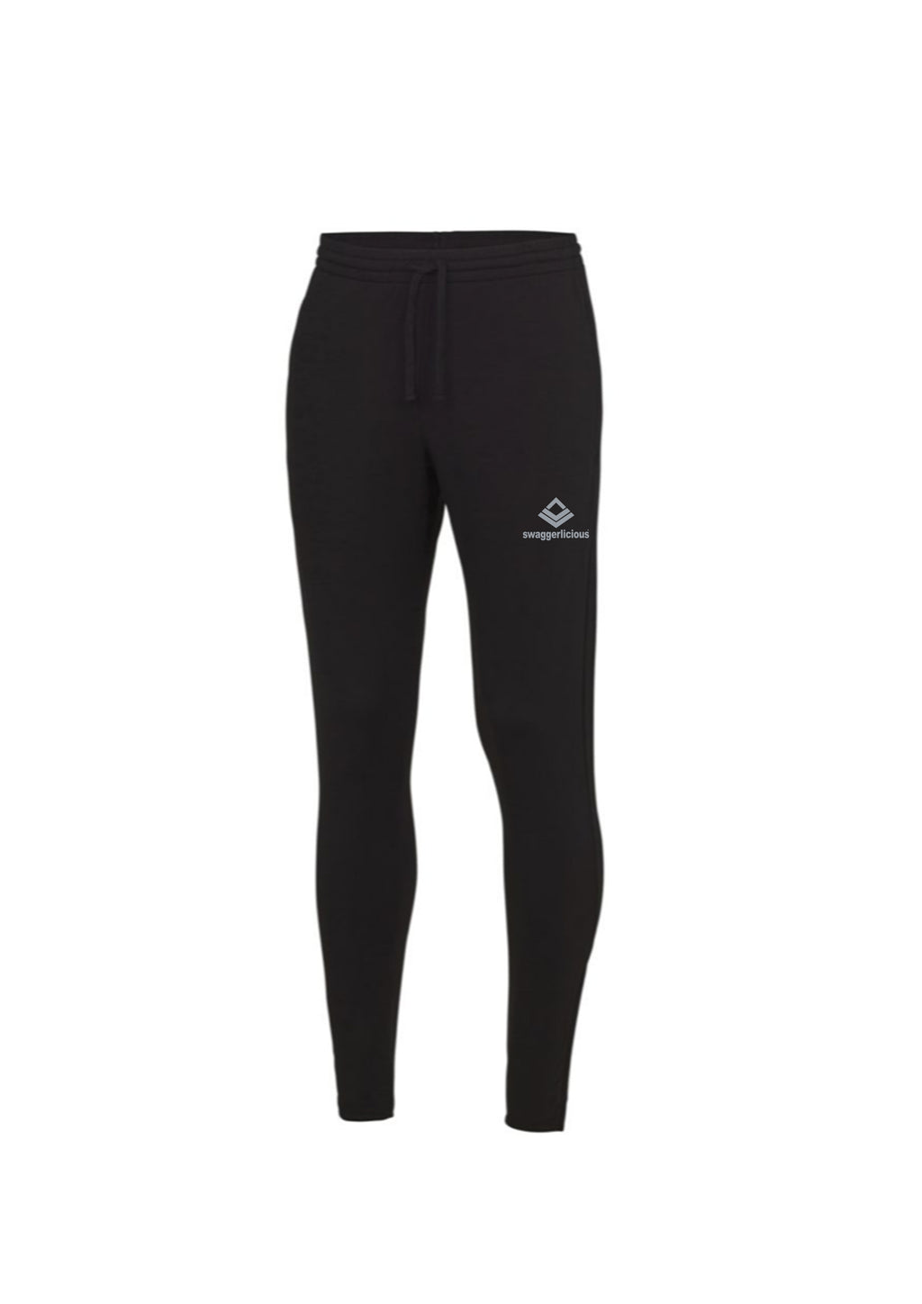 Swaggerlicious Cool Jet Black Jogging Pants with Silver Logo