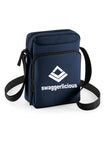 Swaggerlicious Navy Sports Messenger Bag with White Logo