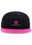 SWAGGERLICIOUS KIDS CLASSIC PINK AND BLACK SNAPBACK CAP WITH MINI PINK LOGO - swaggerlicious-clothing.com