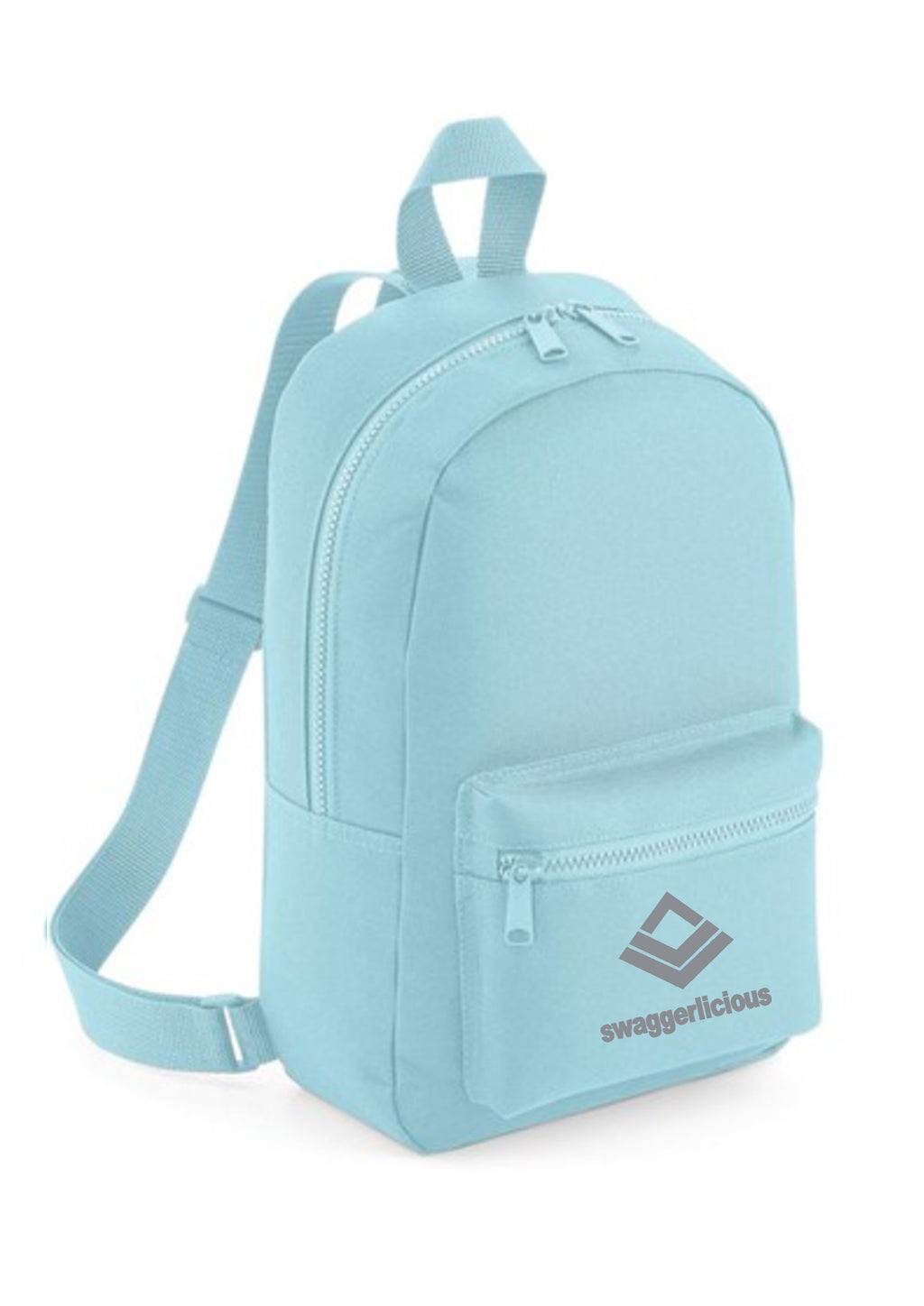 Swaggerlicious Classic Powder Blue Mini Backpack with Silver Logo - swaggerlicious-clothing.com