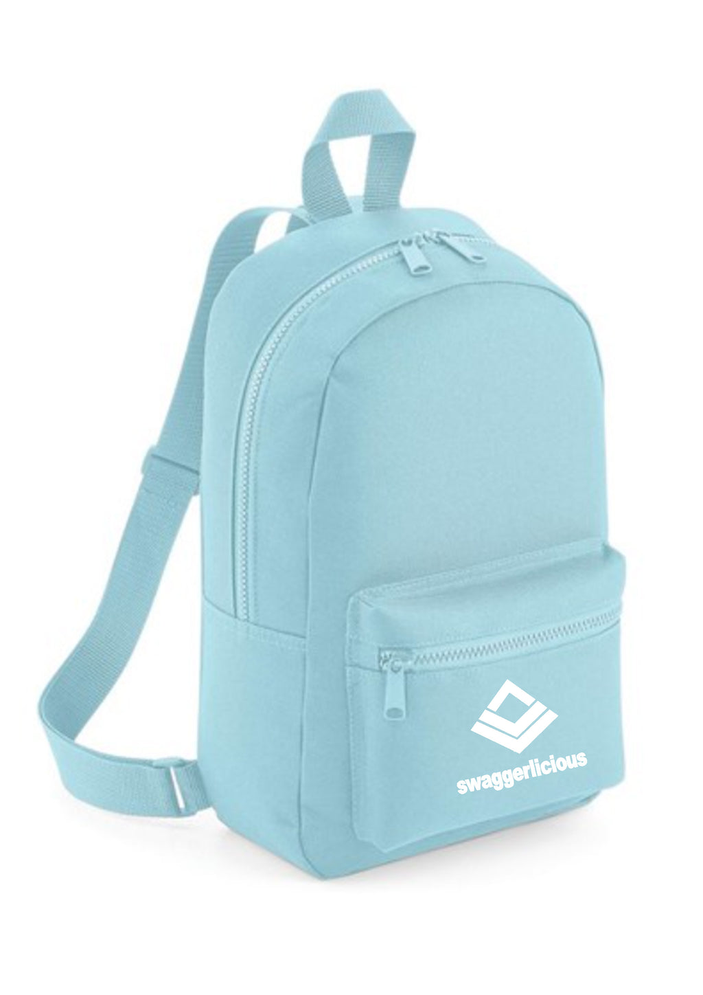 Swaggerlicious Classic Powder Blue Mini Backpack with White Logo - swaggerlicious-clothing.com