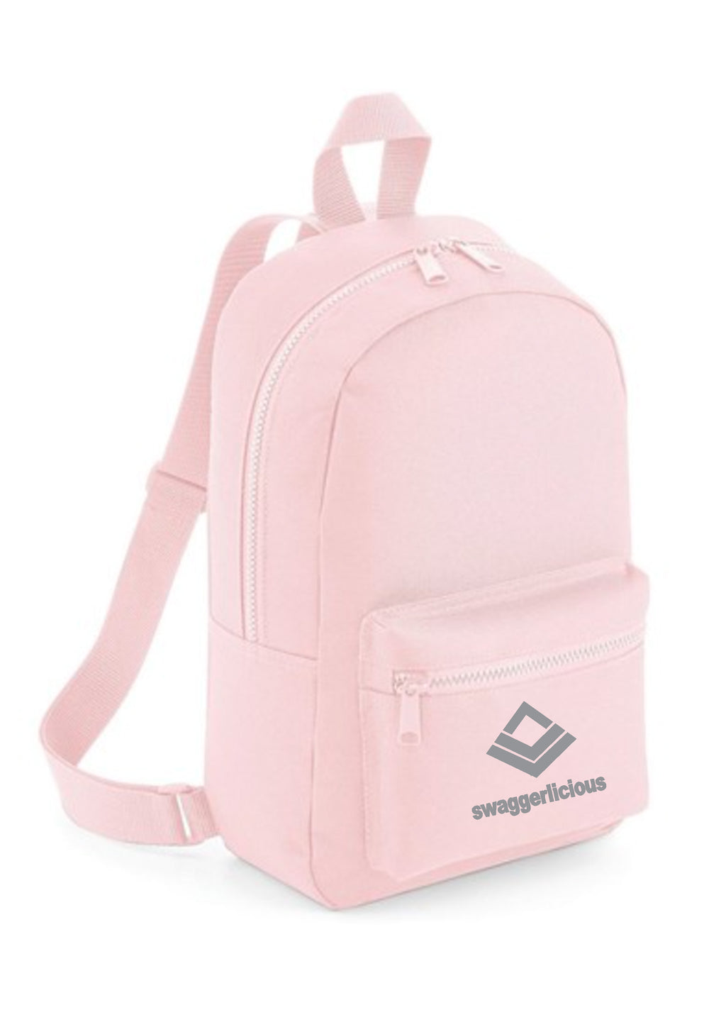 Swaggerlicious Classic Powder Pink Mini Backpack with Grey Logo - swaggerlicious-clothing.com