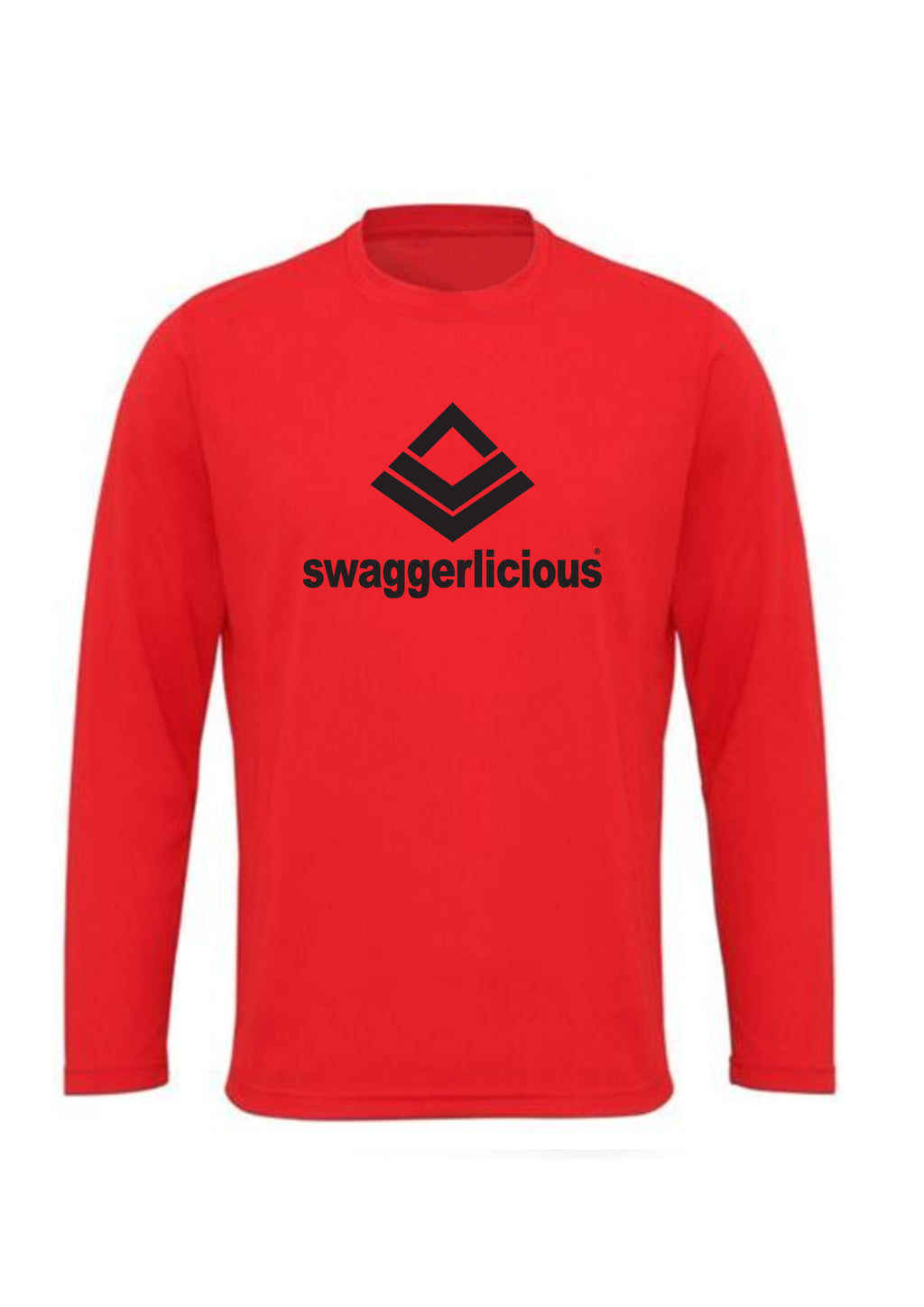 Swaggerlicious Classic Red Gym Fresh Long Sleeve Top with Black Logo - swaggerlicious-clothing.com