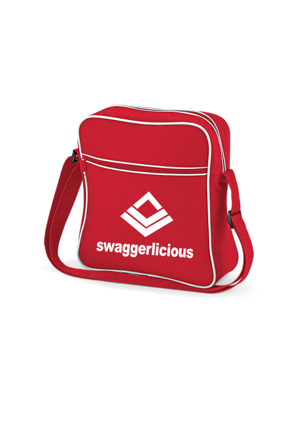 Swaggerlicious Classic Red Retro Flight Bag with White Logo - swaggerlicious-clothing.com