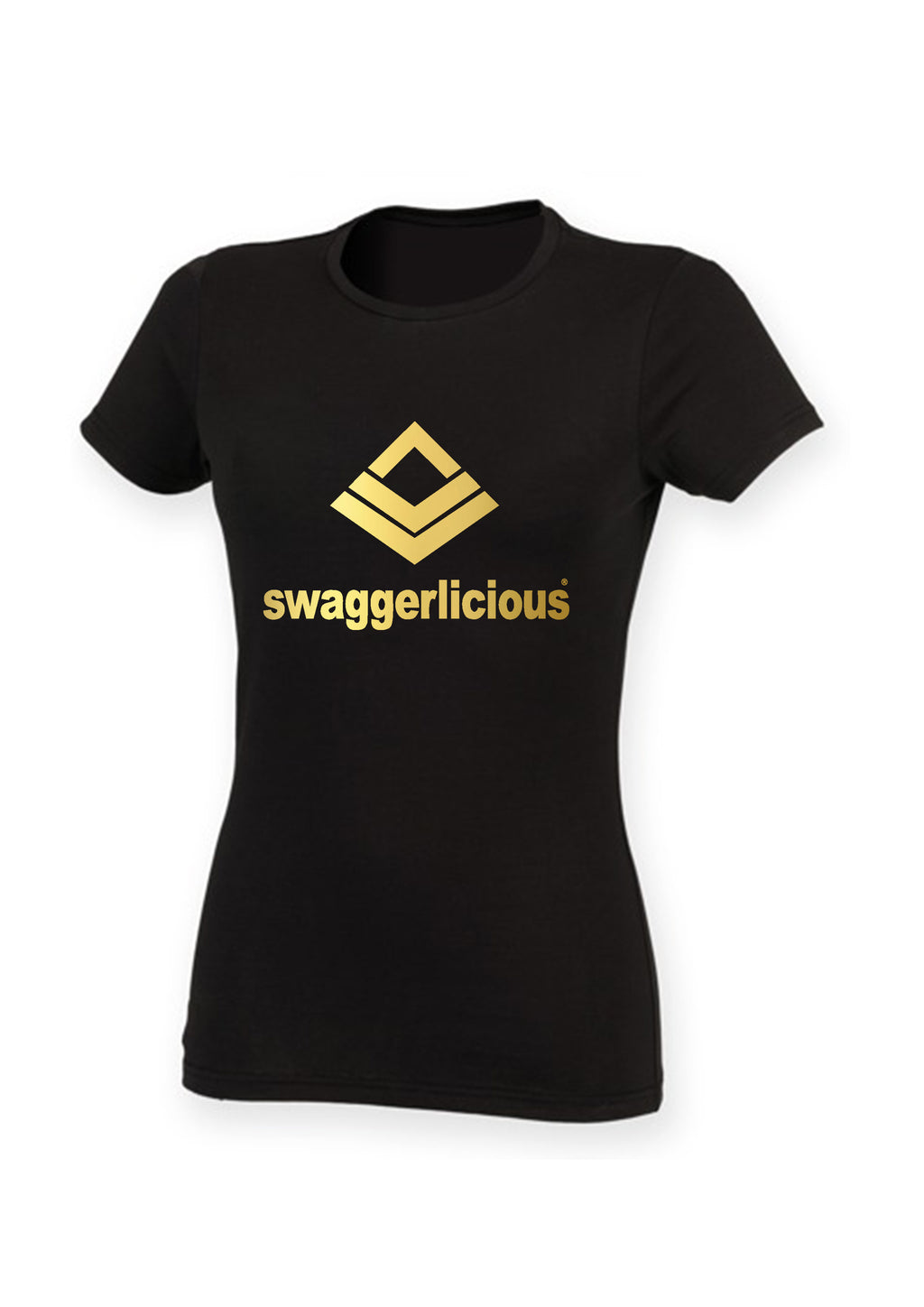 Swaggerlicious Hot Classic Stretch Tee With Gold Logo