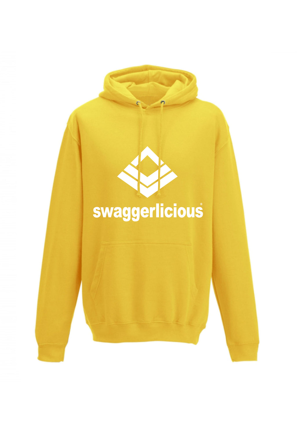 SWAGGERLICIOUS CLASSIC  YELLOW SPORTS HOODIE WITH WHITE LOGO - swaggerlicious-clothing.com