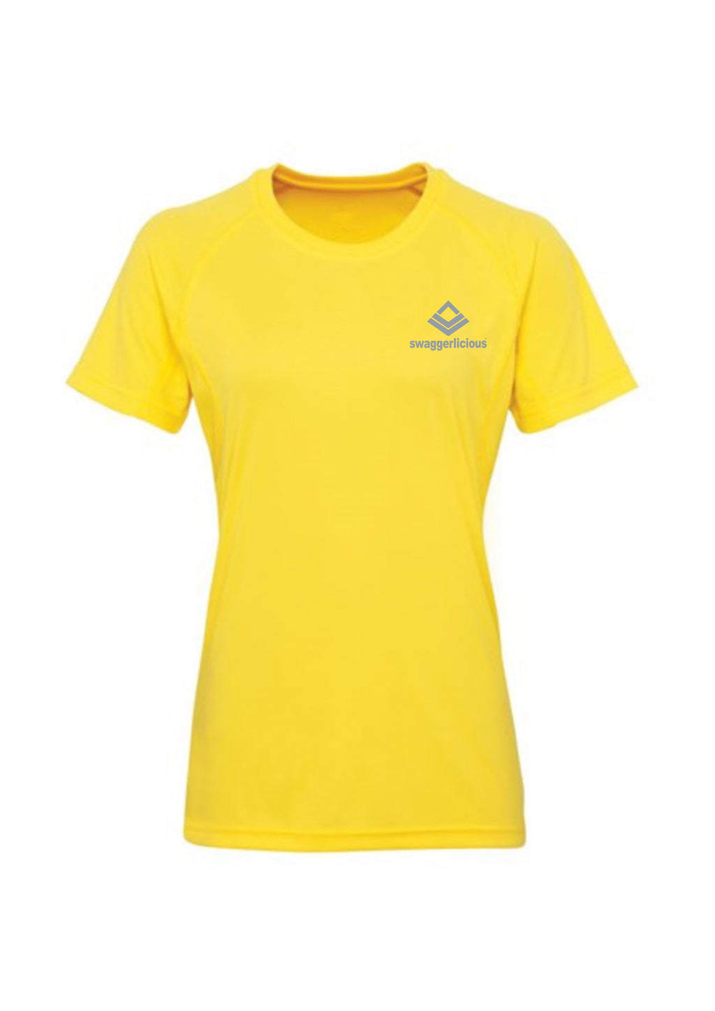Swaggerlicious Sun Yellow Active Sports Tee with Silver Logo