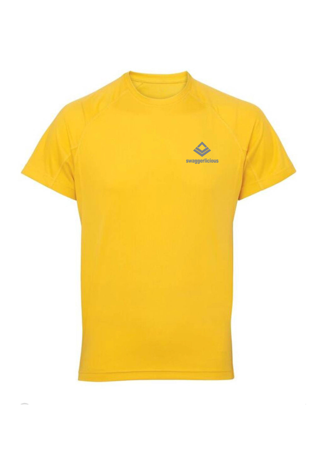 Sun Yellow Swaggerlicious Active Dry T-Shirt with Silver Logo - swaggerlicious-clothing.com