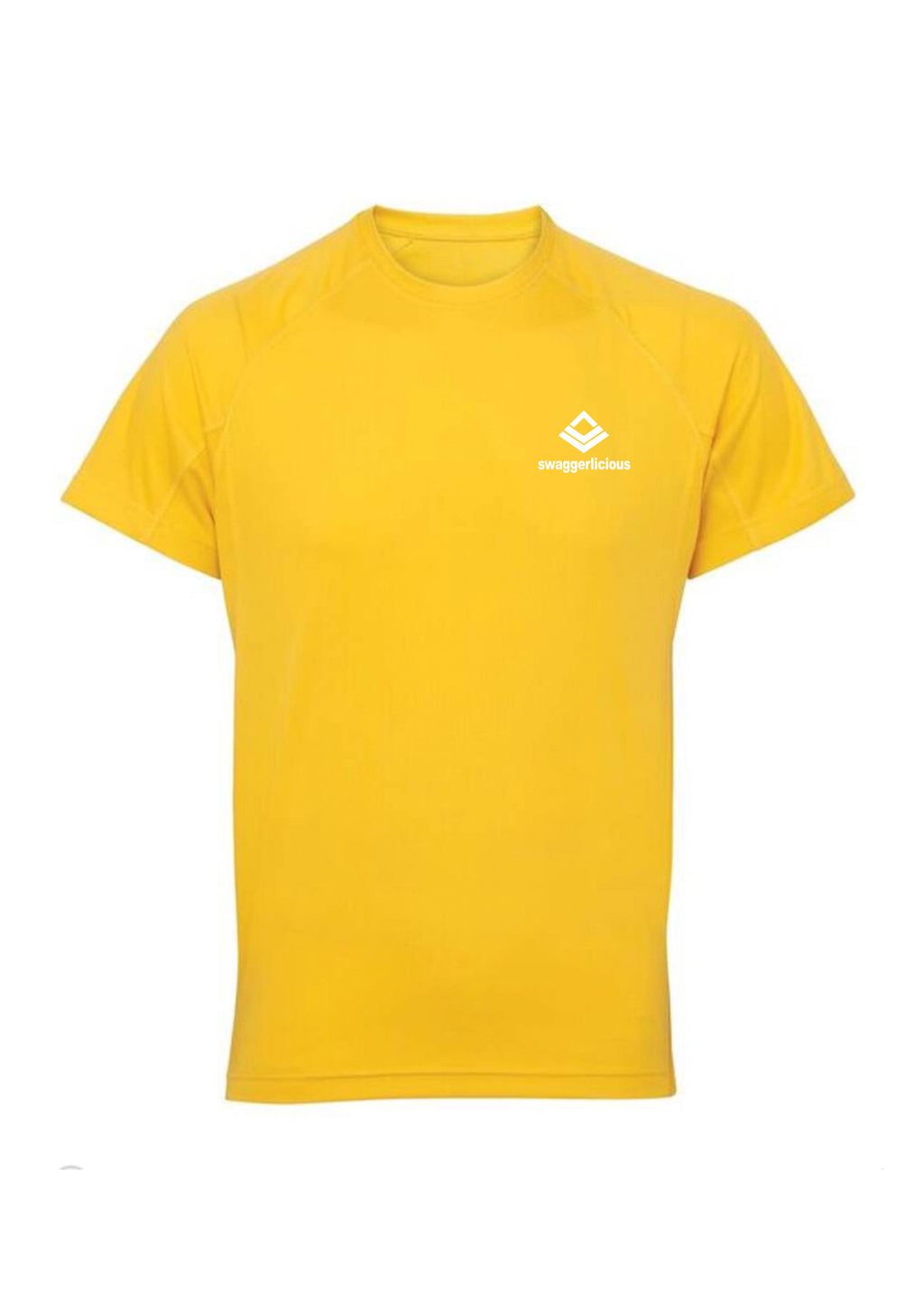 Sun Yellow Swaggerlicious Active Dry T-Shirt with White Logo - swaggerlicious-clothing.com
