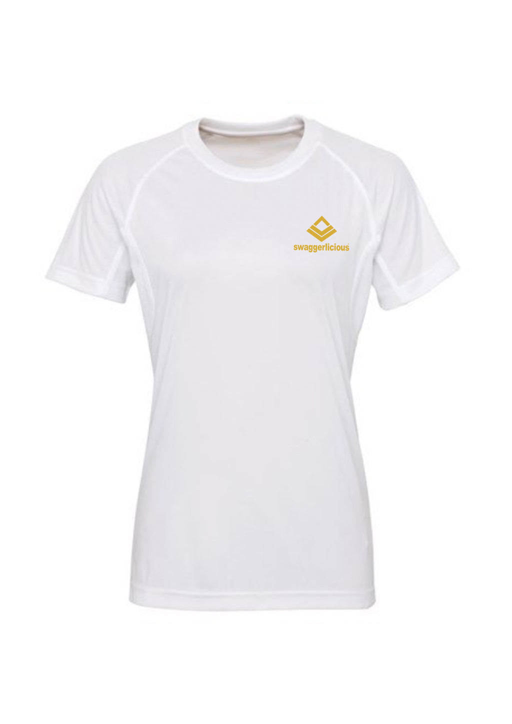 Swaggerlicious White Active Sports Tee with Gold Logo