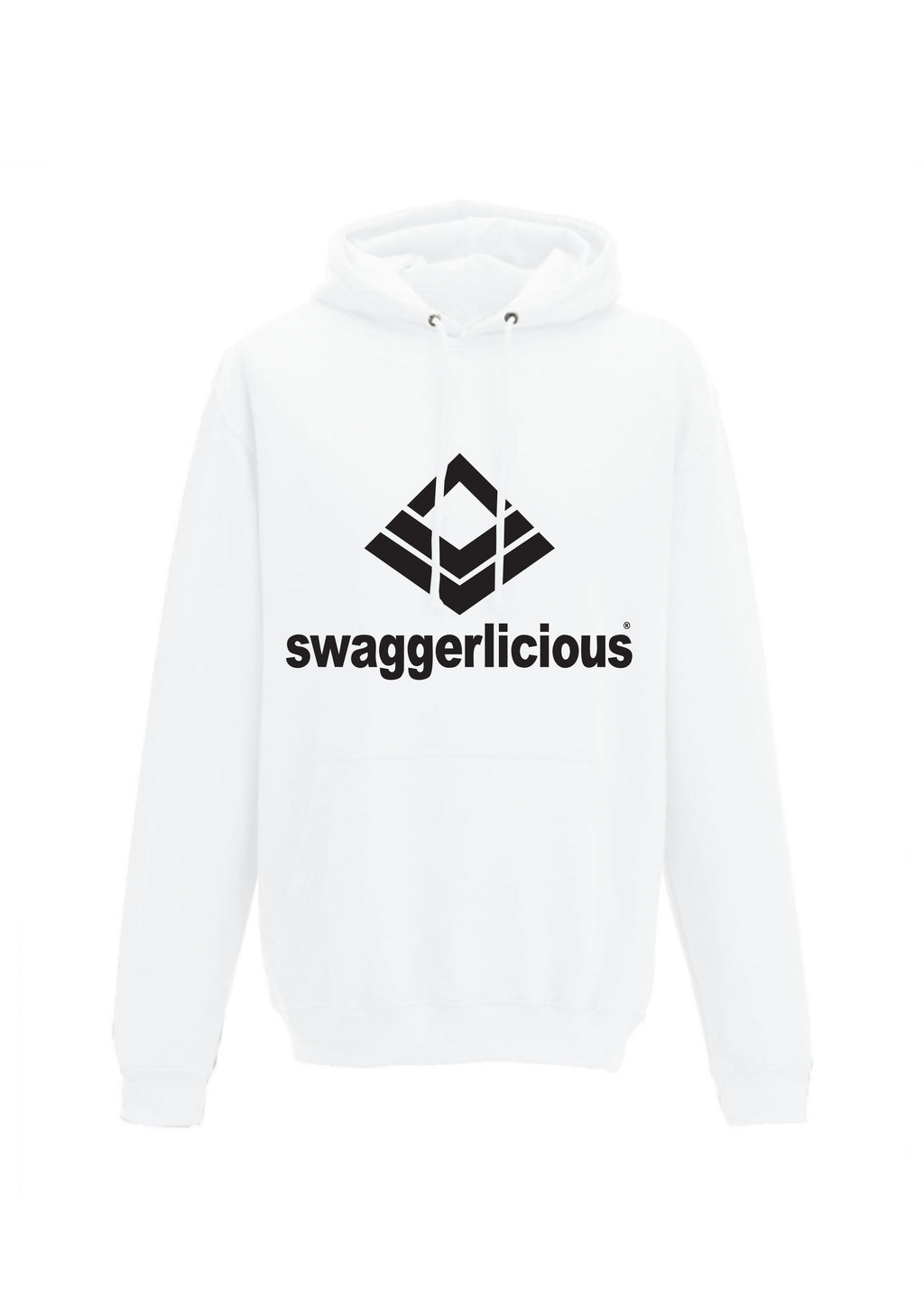 Swaggerlicious Classic White Hoodie with Black Logo - swaggerlicious-clothing.com
