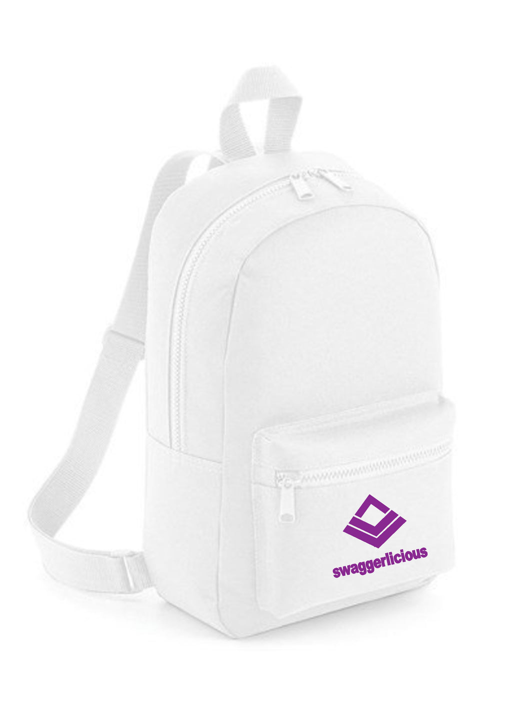 Swaggerlicious Classic White Mini Backpack with Purple Logo - swaggerlicious-clothing.com