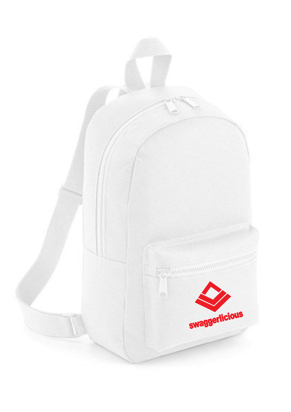 Swaggerlicious Classic White Mini Backpack with Red Logo - swaggerlicious-clothing.com