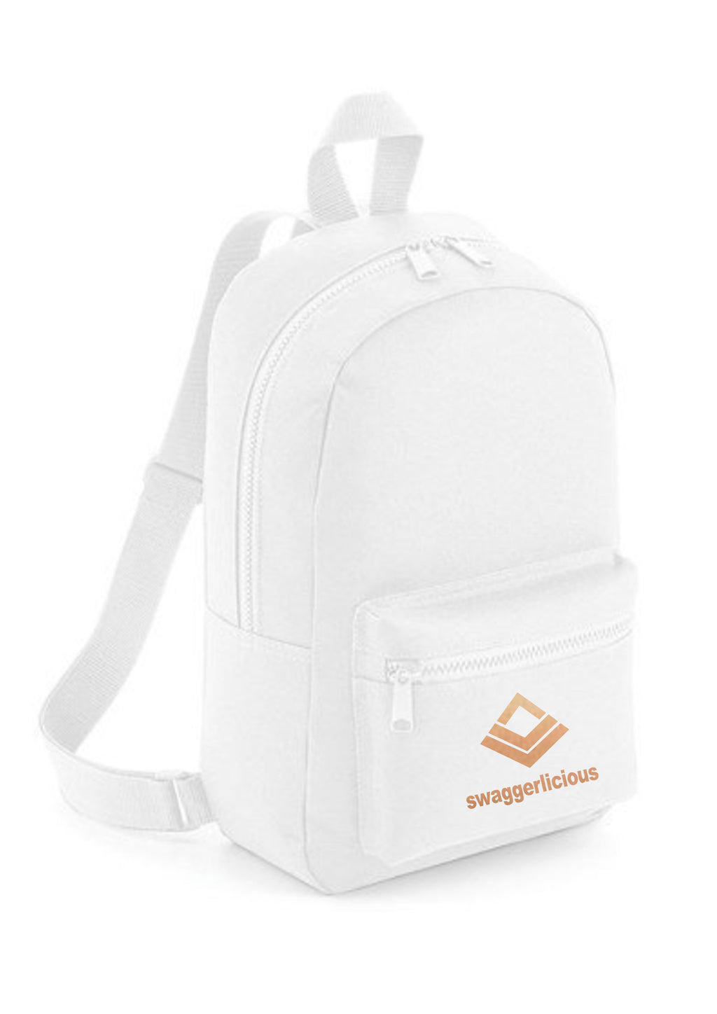 Swaggerlicious Classic White Mini Backpack with Rose Gold Logo - swaggerlicious-clothing.com