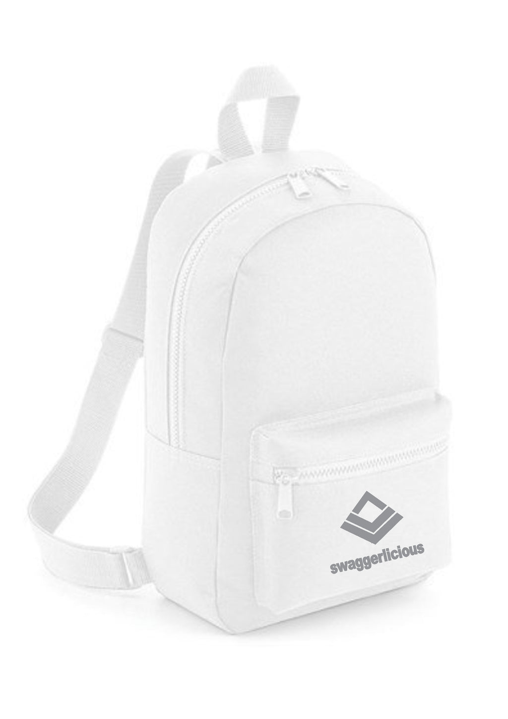 Swaggerlicious Classic White Mini Backpack with Silver Logo - swaggerlicious-clothing.com