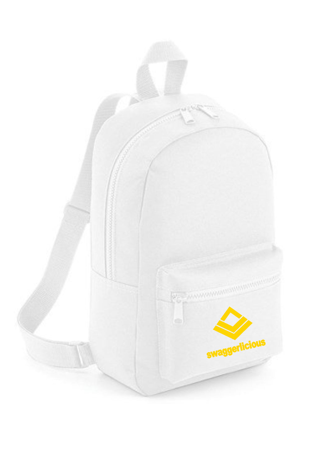 Swaggerlicious Classic White Mini Backpack with Yellow Logo - swaggerlicious-clothing.com