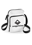 Swaggerlicious White Sports Messenger Bag with Black Logo